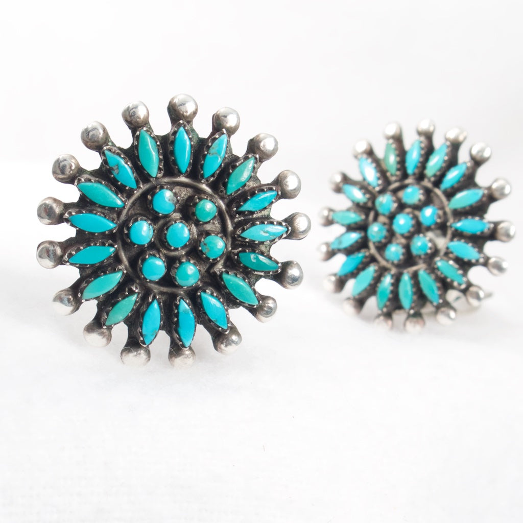Zuni Turquoise Earrings Vintage - Rhinestone Rosie