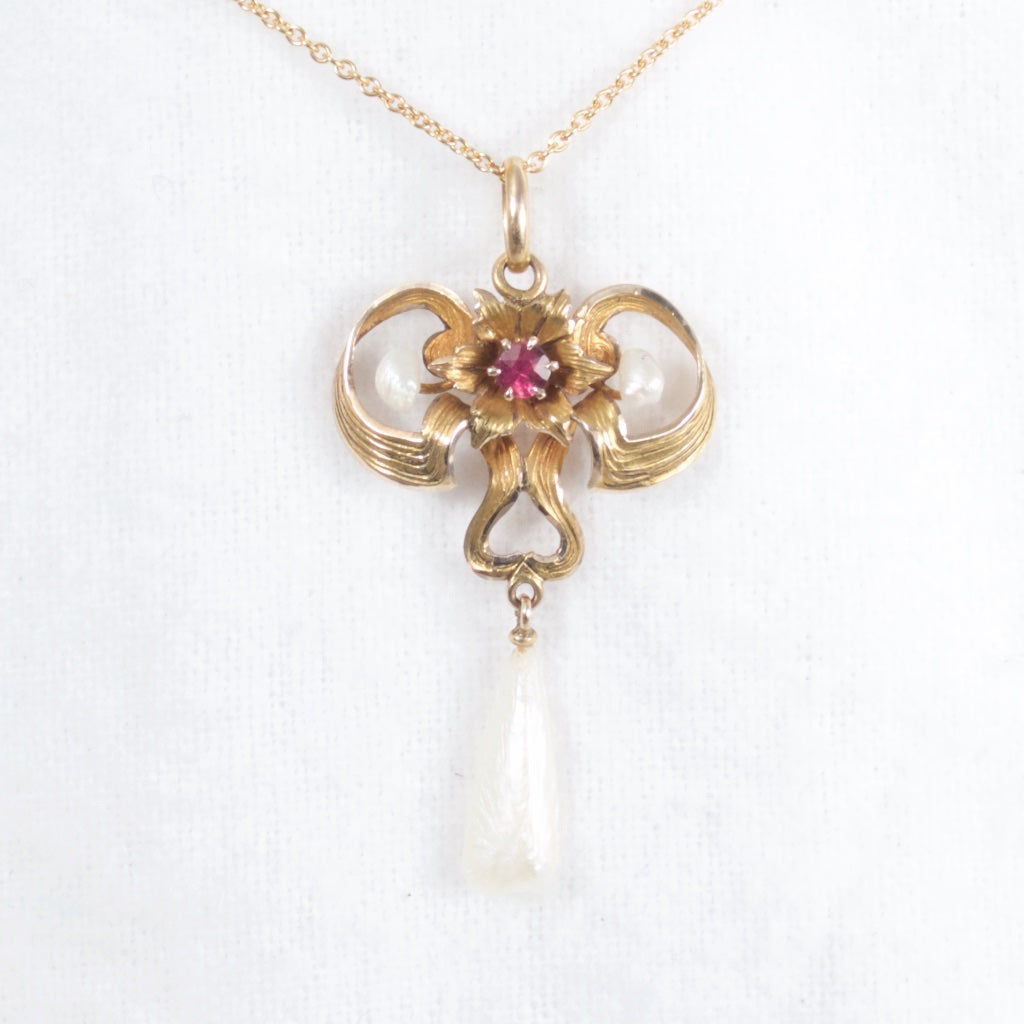 Art Nouveau Pearl and Ruby Lavalier Necklace - Rhinestone Rosie