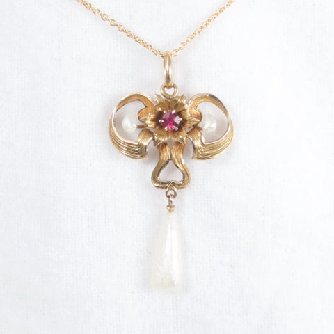 Art Nouveau Pearl and Ruby Lavalier Necklace