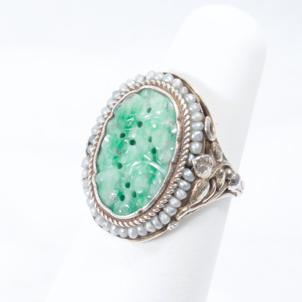 Carved Jade Ring with Seed Pearls - Rhinestone Rosie
