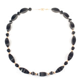 Black and Gold Bead Necklace Vintage - Rhinestone Rosie