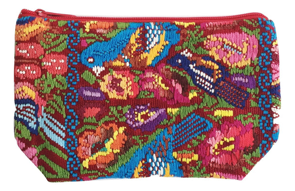Order online one-of-a-kind pouch ideal for storing cosmetics, makeup, medicines, jewelry and more. Artisan made Guatemalan huipil. Socially conscious product. OLIVIA & ELENA ETHICAL FASHION BRAND