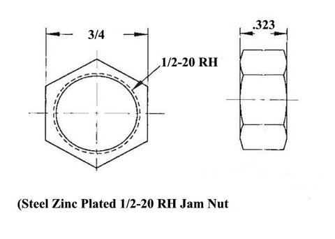1/2 x 1/2-20 Economy Panhard Bar Kit With 1/2 To 3/8 High Misalignment Spacers, Weld-In Bungs .083 & Jam Nuts
