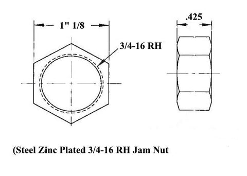 3/4 x 3/4-16 Economy Panhard Bar Kit With 3/4 To 1/2 High Misalignment Spacers, Weld-In Bungs .095 & Jam Nuts