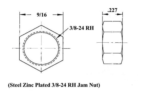 3/8 x 3/8-24 Economy Panhard Bar Kit With 3/8 Aluminum Cone Spacers, Weld-In Bungs .058 & Jam Nuts