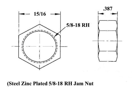 5/8 x 5/8-18 Economy Panhard Bar Kit With 5/8 Steel Cone Spacers, Weld-In Bungs .095 & Jam Nuts