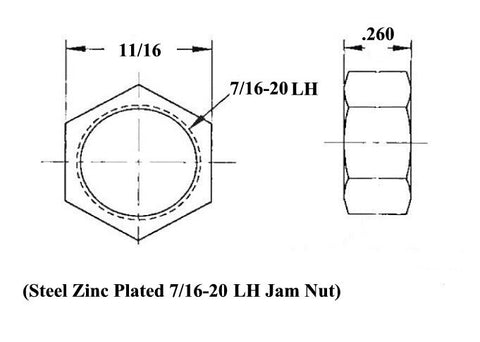 7/16 x 7/16-20 Chromoly 4 Link Kit With Weld-In Bungs .065 & Jam Nuts