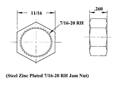 7/16 x 7/16-20 Economy Panhard Bar Kit With 7/16 Steel Cone Spacers, Weld-In Bungs .065 & Jam Nuts