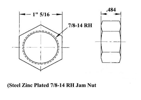 7/8 x 7/8-14 Chromoly 4 Link Kit With 7/8 To 3/4 High Misalignment Spacers, Weld-In Bungs .250 & Jam Nuts