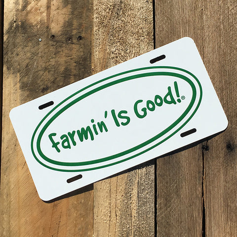 Classic Farmin' Logo License Plate