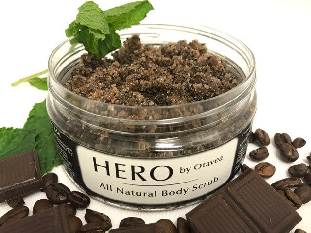 Otavea all natural HERO body scrub made with peppermint chocolate and coffee