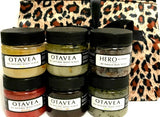 Otavea all natural 1oz gift set with peppermint strawberry chocolate coffee lemon lavender HERO body scrub with leopard print bag