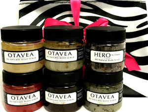 Otavea all natural 1oz gift set with peppermint strawberry chocolate coffee lemon lavender HERO body scrub wit zebra print bag