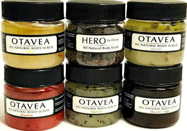 Otavea all natural 1oz gift set with peppermint strawberry chocolate coffee lemon lavender HERO body scrub