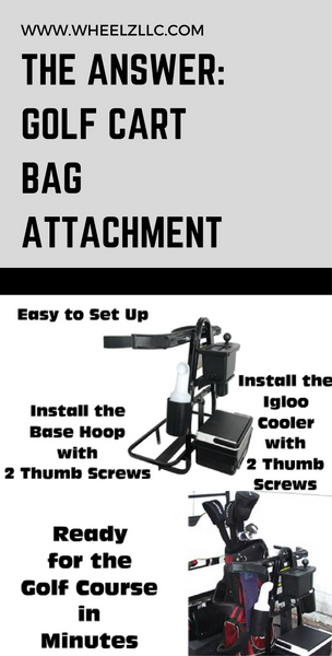 The Answer: Golf Cart Golf Bag Attachment with Accessories