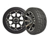 Set of (4) Golf Cart / GEM Car 215/40-12 Street Tire Mounted on 12x7 BLACK CHROME Vortex Wheels
