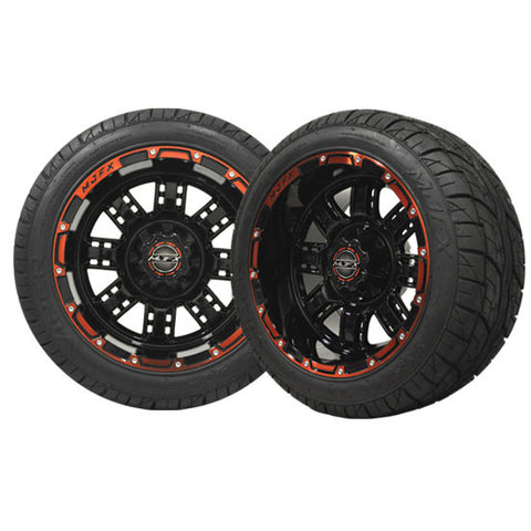 Set of (4) Golf Cart / GEM Car 215/40-12 Street Tire w/ 12x7 Red and Black Transformer Wheels - WHEELZ Custom Carts & Accessories