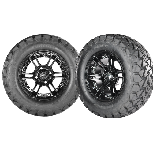 Set of (4) 22x10-12 Golf Cart Timber Wolf A/T Tire with Mirage Aluminum Wheel - WHEELZ Custom Carts & Accessories