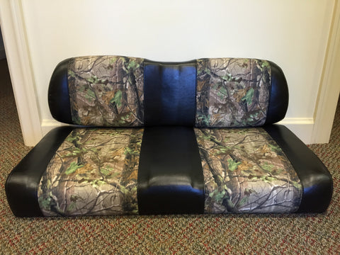 Club Car DS Golf Cart Realtree Camo and Black Replacement Seat Cushion Set - WHEELZ Custom Carts & Accessories