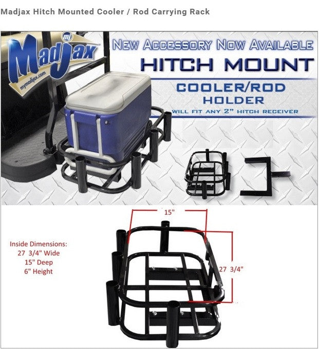 Universal Golf Cart Hitch Mounted Cooler / Fishing Rod Holder/ Hunting Attachment