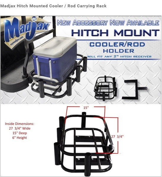 Universal Golf Cart Hitch Mounted Cooler / Fishing Rod Holder/ Hunting Attachment - WHEELZ Custom Carts & Accessories
