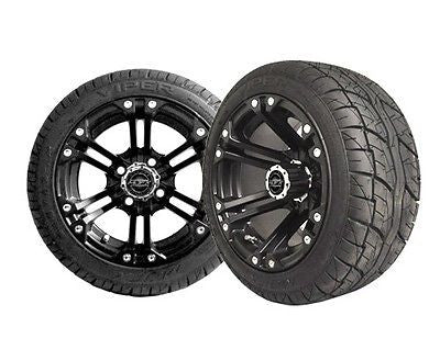 Set of (4) Golf Cart / GEM Car 215/40-12 Street Tire with 12x7 Black NITRO Wheels - WHEELZ Custom Carts & Accessories