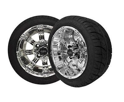 Set of (4) Golf Cart / GEM Car 215/40-12 Street Tire with 12x7 CHROME Octane Wheels - WHEELZ Custom Carts & Accessories