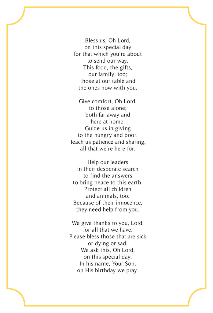 a christmas prayer original poem in a pack of 10 greeting cards in red with gold