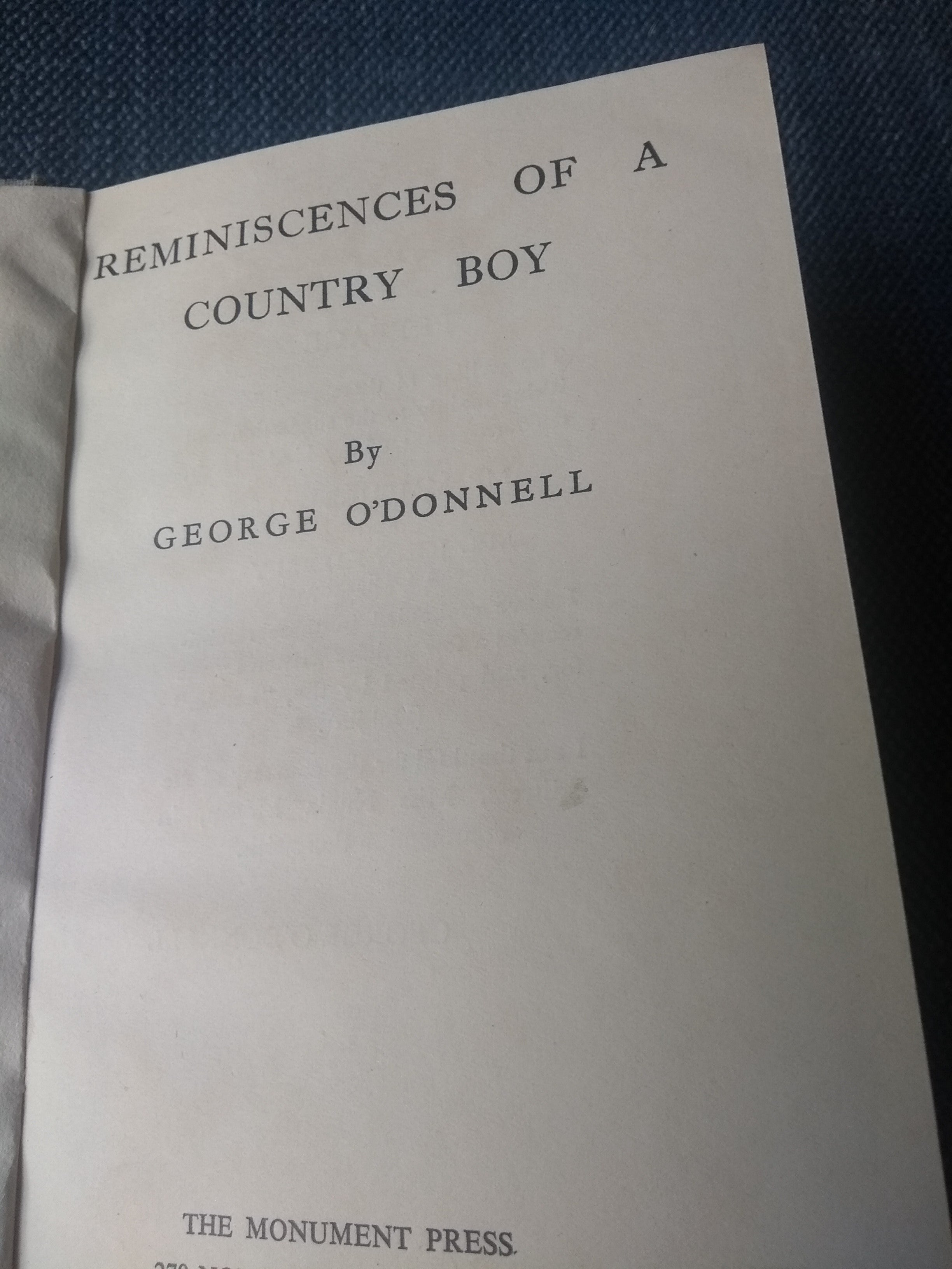 Reminiscences of a Country Boy, by George O' Donnell