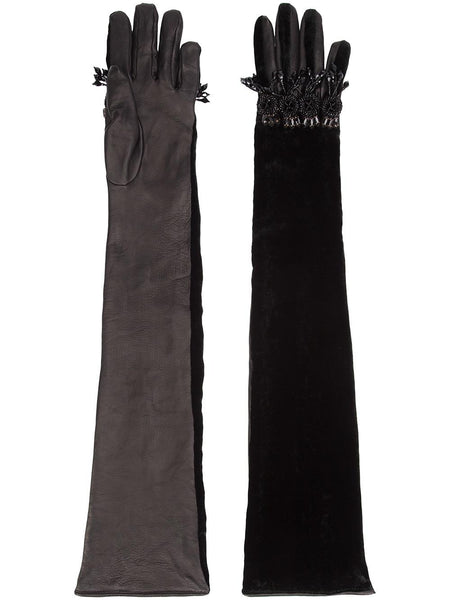 embellished elbow length gloves