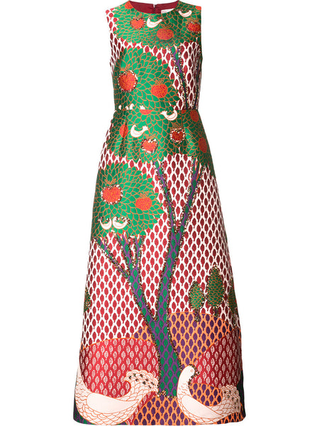 tree print flared dress