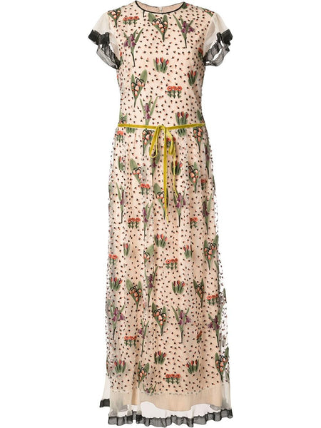Red Valentino floral embroidery long dress