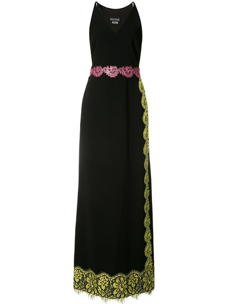 BOUTIQUE MOSCHINO floral lace trim gown