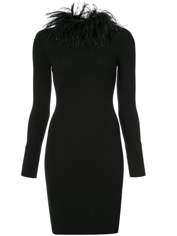 'feather collar dress