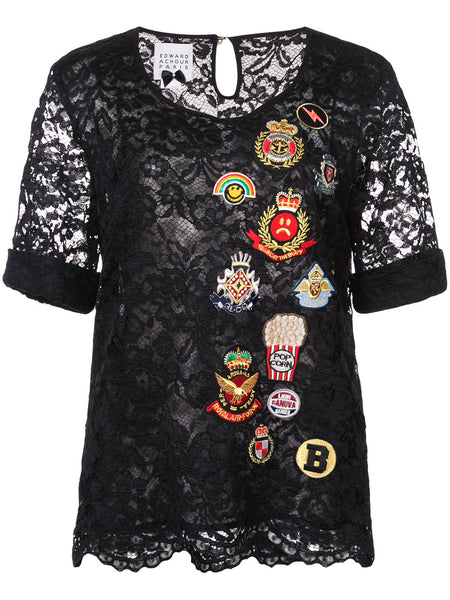 embroidered patch blouse