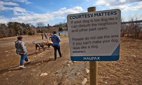 halifax dog park sign