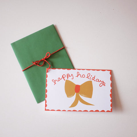 Holiday Card-  Yellow Bow
