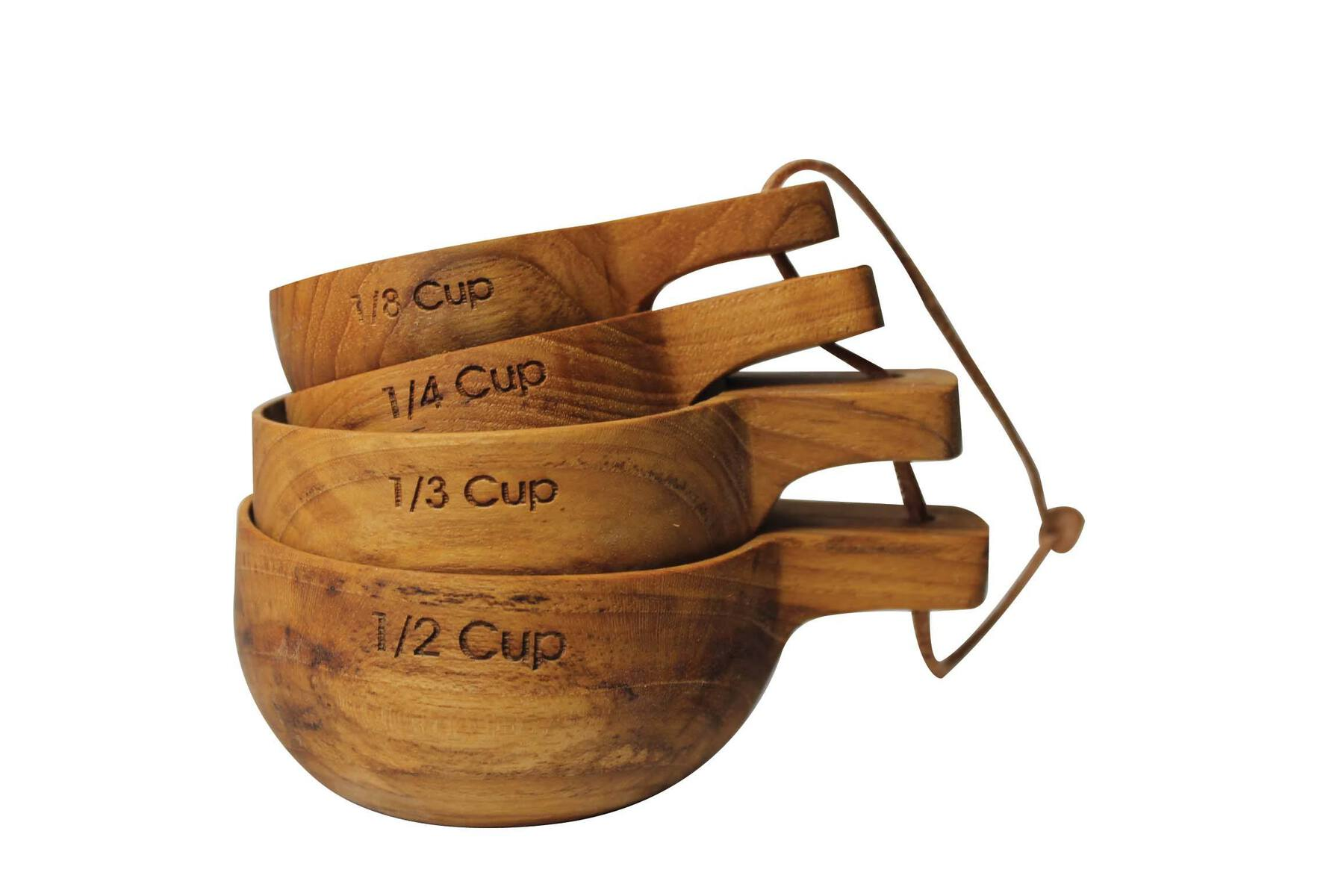 Teak Measuring Cups with Handle