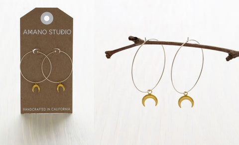 Crescent Moon Hoop Earrings