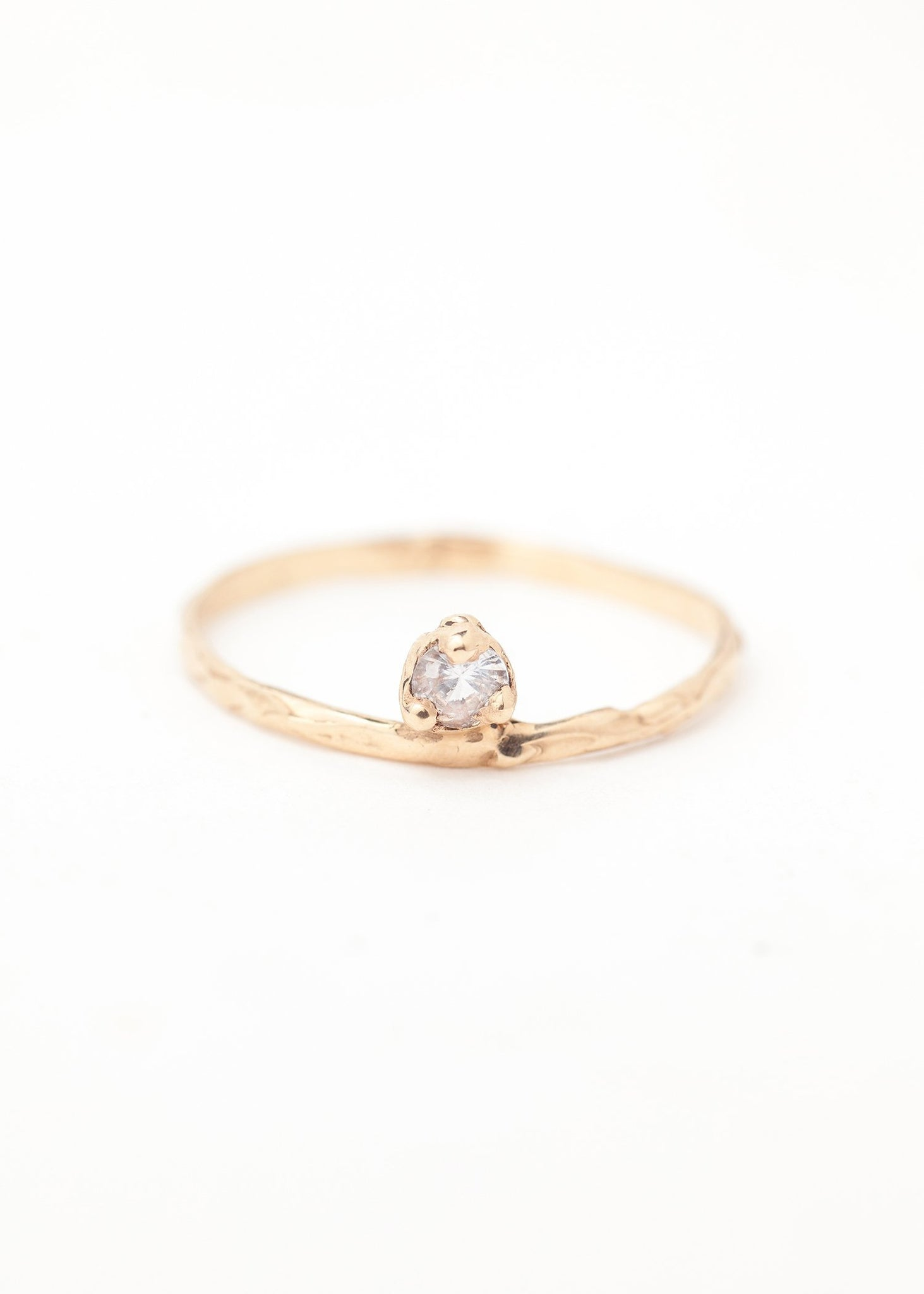 Stella Suspended Solitaire Ring - 14K Gold
