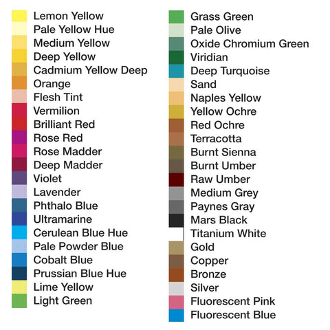 Reeves colour chart