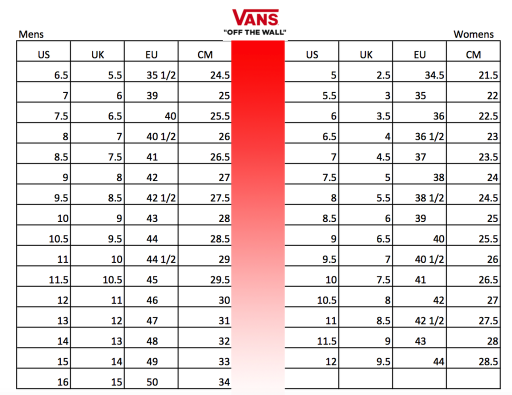 vans womens size guide