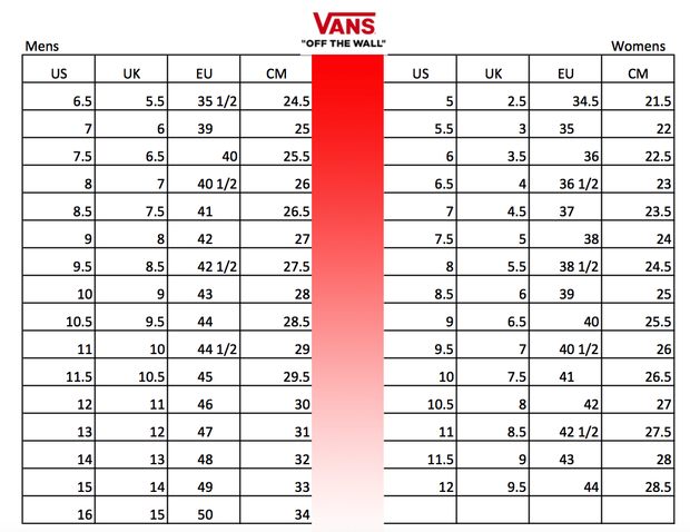 vans size chart mens to womens