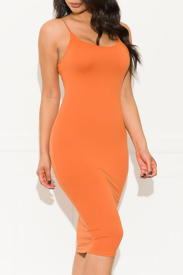 Cognac Fitted Midi Spaghetti Strap Dress - Baby Doll Luxury Hair