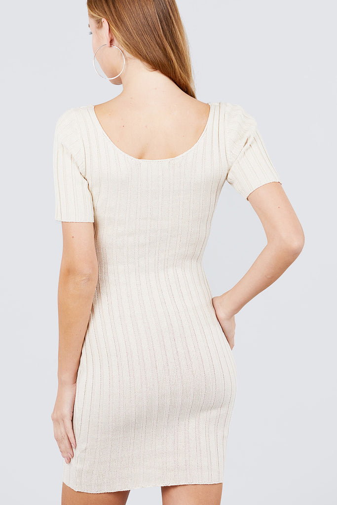 Short Sleeve Ribbed Sweater Dress - Baby Doll Luxury Hair