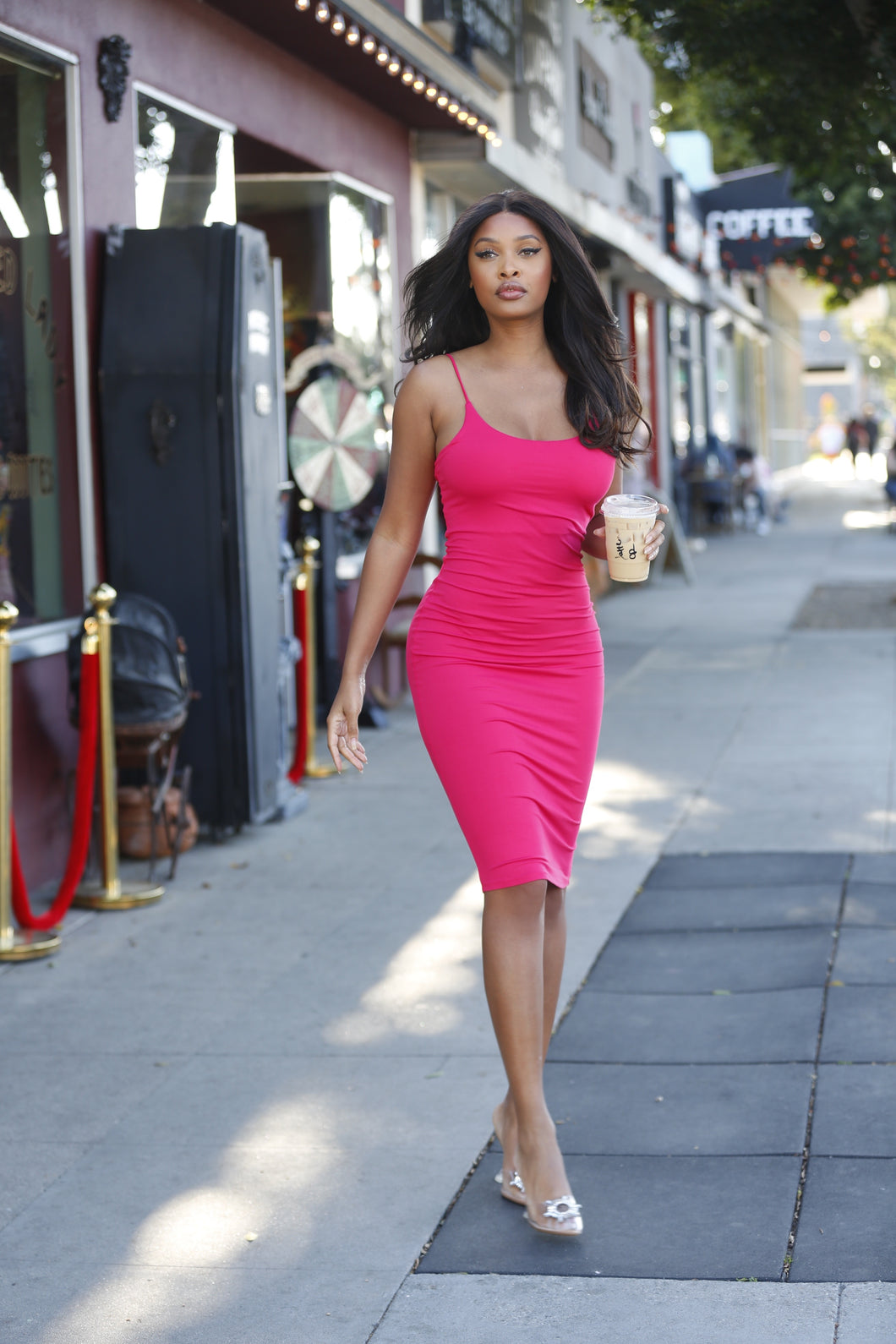 Hot Pink Fitted Midi Spaghetti Strap Dress - Baby Doll Luxury Hair