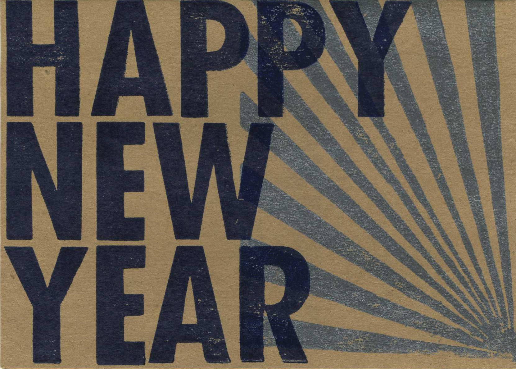 happy new year hand printed letterpress card