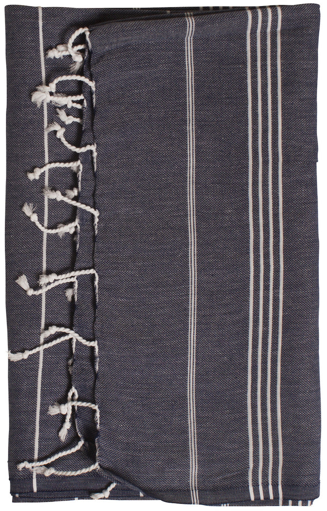 Navy blue beach towel and travel towel, 100% natural turkish cotton towel