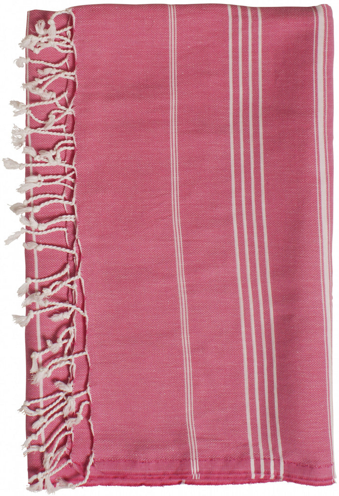 Pink beach towel and travel towel, 100% natural turkish cotton towel