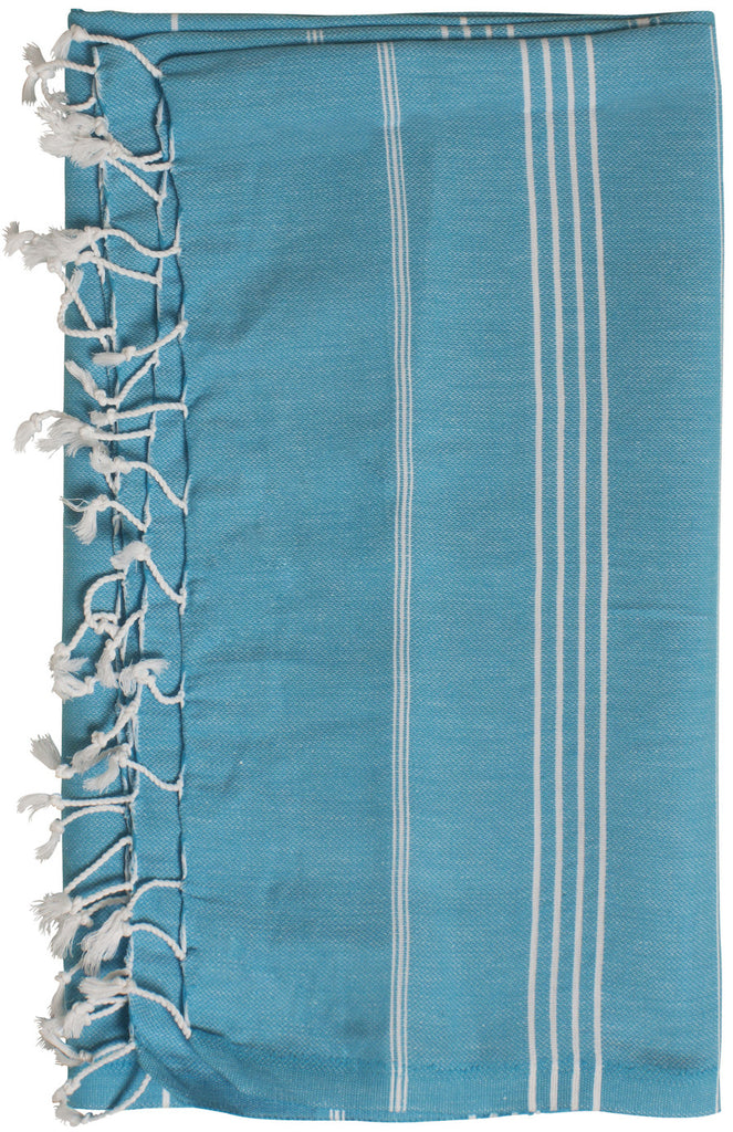 Turquoise & light blue beach towel and travel towel, 100% natural turkish cotton towel